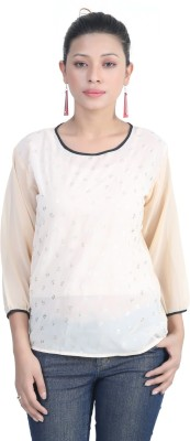 Shopdayz Casual 3/4 Sleeve Printed Women's Beige Top