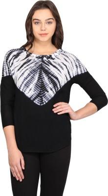 Nordic Bazaar Casual 3/4 Sleeve Solid Women's Black Top
