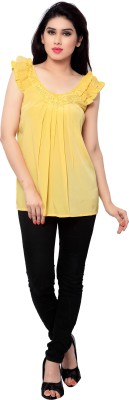SFDS Casual Sleeveless Solid Women's Yellow Top
