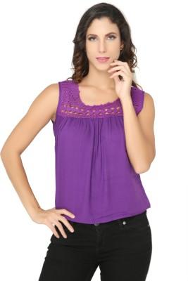 Philigree Casual Sleeveless Solid Women,s Purple Top