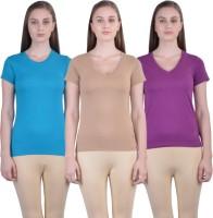Dollar Women's Clothing - Dollar Missy Casual Short Sleeve Solid Women's Blue, Beige, Purple Top