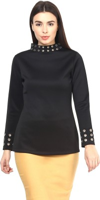 Martini Party Full Sleeve Solid Women's Black Top