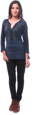 La Divyyu Party Full Sleeve Embroidered Women's Blue Top