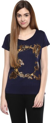 Fritzberg Casual Short Sleeve Printed Women's Blue Top