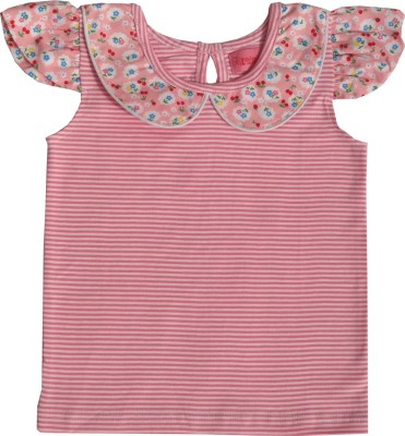 Always Kids Casual, Festive, Party Cap sleeve Striped Girl's Pink Top