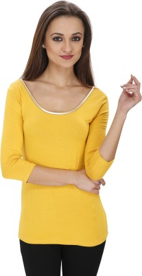 Svt Ada Collections Party 3/4 Sleeve Solid Women's Yellow Top