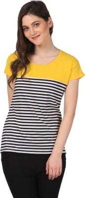 FashionExpo Casual Short Sleeve Striped Women's Yellow Top