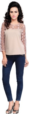 Multi Retail Casual 3/4 Sleeve Embroidered Women's Beige Top