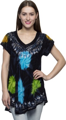 One Femme Party, Formal Short Sleeve Printed Women's Black Top