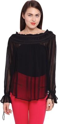 Ozel Casual Full Sleeve Solid Women's Black Top