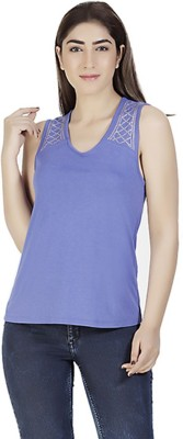 Gudi Casual Sleeveless Embellished Women's Blue Top