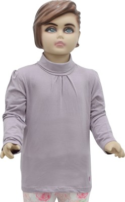 Urban Forest Casual Full Sleeve Solid Girl,s Purple Top