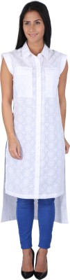 Fashionwardrobe Casual Cap sleeve Embroidered Women,s White Top