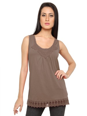 Pepperika Casual Sleeveless Solid Women's Brown Top