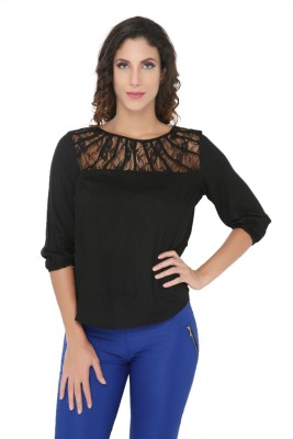 Philigree Casual 3/4 Sleeve Solid Women,s Black Top