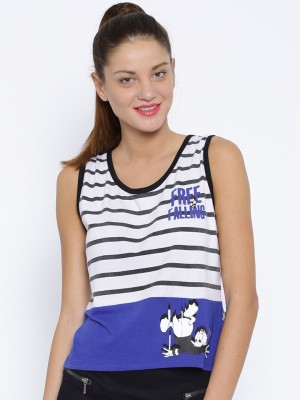 Kook N Keech Casual Sleeveless Striped Women's White Top at flipkart