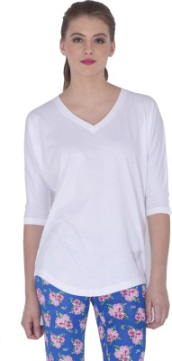 Sera Casual 3/4 Sleeve Solid Women,s White Top