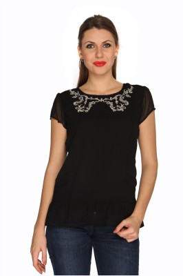 Bedazzle Casual Short Sleeve Solid Women's Black Top at flipkart