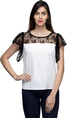 LY2 Casual Butterfly Sleeve Solid Women,s White Top
