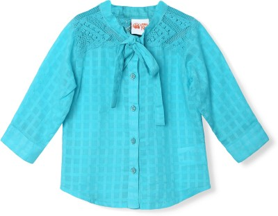 FS Mini Klub Casual Full Sleeve Woven Girl's Blue Top