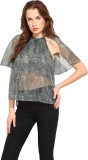 Blue Sequin Casual Short Sleeve Printed ...