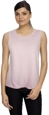 Girl Confidential Casual Sleeveless Solid Women's Pink Top