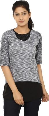 Aussehen Casual 3/4 Sleeve Self Design Women's Black, Grey Top