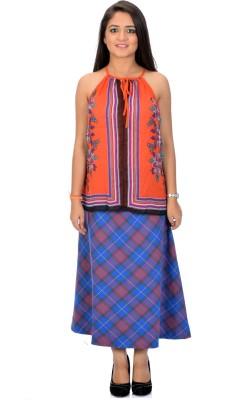 Arya Casual, Beach Wear Sleeveless Floral Print Women's Multicolor, Orange Top