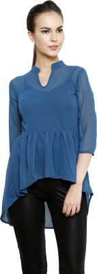 I Am For You Casual 3/4 Sleeve Embellished Women's Blue Top