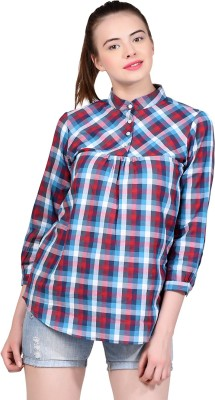 LA ATTIRE Casual, Formal, Lounge Wear Full Sleeve Checkered Women's Red Top