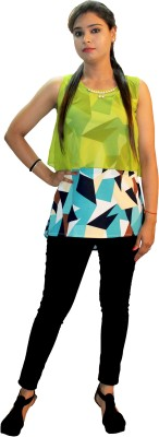 Shonaa Casual, Party, Beach Wear, Festive Sleeveless Printed, Solid Women's Grey, Multicolor Top