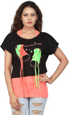 Famglam Casual Short Sleeve Printed Women's Beige Top