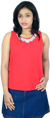 Shopaholic Fashion Casual Sleeveless Printed Women's Red Top