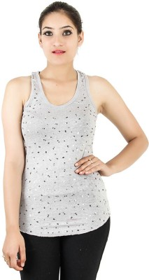Opiumstreet Party Sleeveless Embellished Women's Grey Top