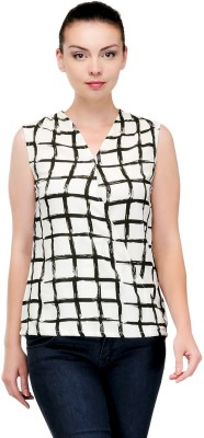 Pique Republic Casual Sleeveless Woven Women's White Top