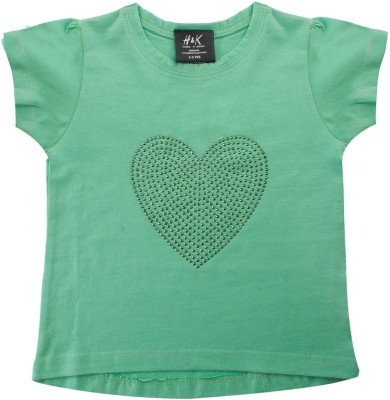 H&K Casual Short Sleeve Solid Girl's Green Top