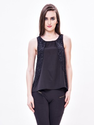 Envy Me Casual, Party Sleeveless Solid Women,s Black Top
