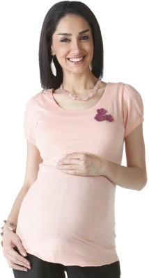 Morph Maternity Casual Short Sleeve Solid Women's Pink Top