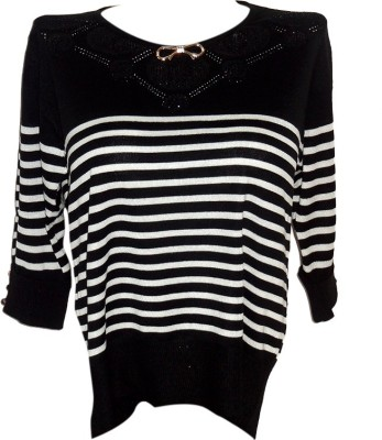 Forever 18 Casual 3/4 Sleeve Solid Women's Black Top
