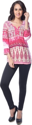 Florriefusion Casual 3/4 Sleeve Printed Women's Pink Top