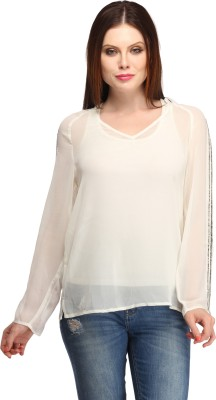 My Addiction Casual Full Sleeve Embellished Women's White Top
