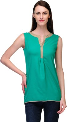 Fashionwalk Casual Sleeveless Solid Women's Green Top