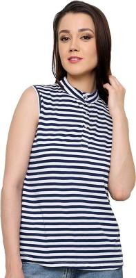 Ebry Casual Sleeveless Striped Women's Blue Top