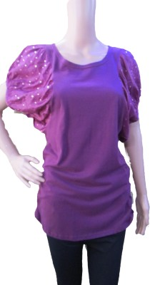 Aaradhya Boutique Casual Butterfly Sleeve Self Design Girl,s Purple Top