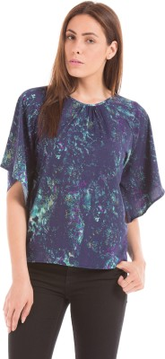Prym Casual 3/4 Sleeve Printed Women's Blue Top