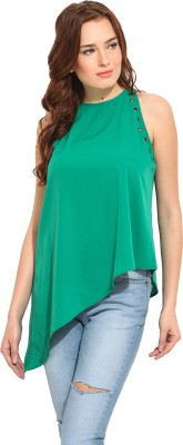 Blue Sequin Casual Sleeveless Solid Women's Green Top