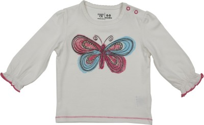 Mom & Me Casual Full Sleeve Printed Baby Girl's White Top