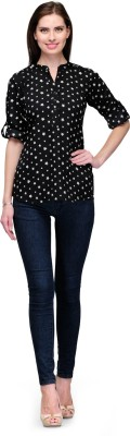 7Soft Colors Casual Full Sleeve Printed Women's Black Top