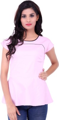 Fbbic Party Short Sleeve Solid Women's Pink Top
