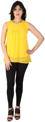 Dovekie Casual Sleeveless Self Design Women's Yellow Top
